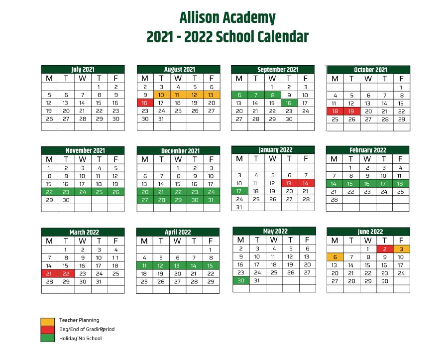 University Of Miami Spring 2022 Calendar.Academic Calendar Allison Academy North Miami Florida