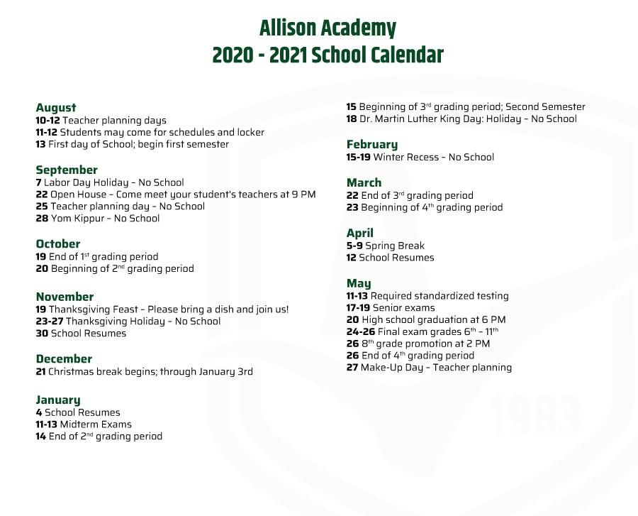 Allison Academy Academic Calendar 2020 2021
