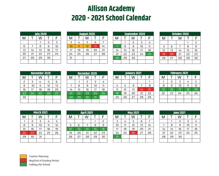 Academic Calendar 20 21
