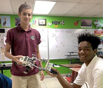 Allison Academy students with robots